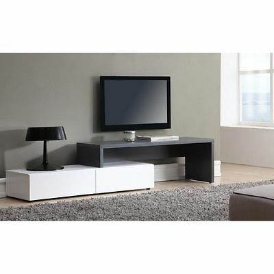 moderne meuble t l meuble tv 130 cm blanc mat et blanc. Black Bedroom Furniture Sets. Home Design Ideas