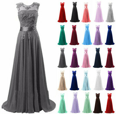 Long Lace Chiffon Formal Evening Party Ball Gown Prom Bridesmaid Dress Size 6-20