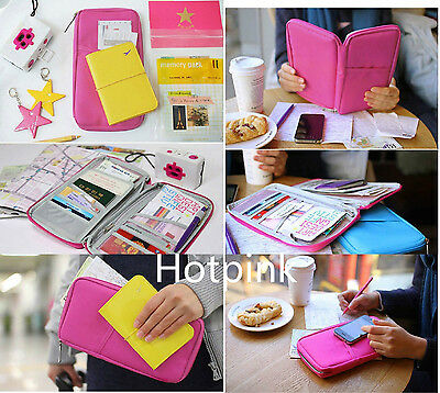 Travel Bag Wallet Document Organiser Zipped Passport Tickets ID Holder Hotpink