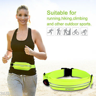 Enkeeo Outdoor Runners Waist Bag Pouch Fanny Pack Belt Sweatproof with LED light