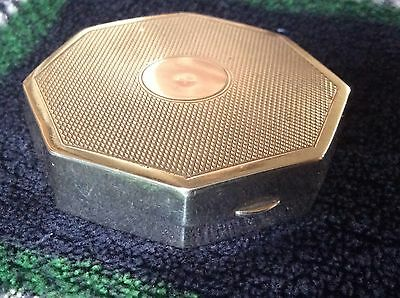 Antique art deco ladies octagonal sterling silver Compact ,fully hallmarked .