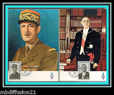 1971/fdc Cp(2)**general De Gaulle-Hommage-52.colombey**timbre/y/t 1695/98