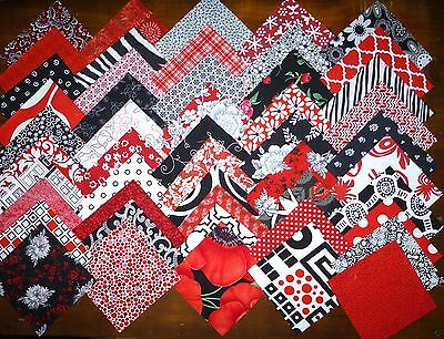 50 Red Black White Patchwork Quilting fabric 5 inch squares #18f