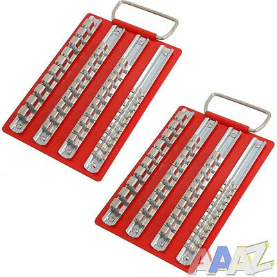2 Metal Socket Tray with 1/4 3/8 & 1/2 Inch Clips Storage Rails Tool Box Roll