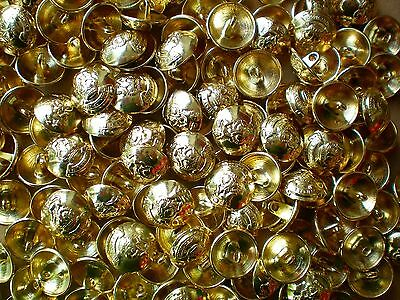 15mm 24L Gold Effect Metal Military Coat of Arms Domed Shank Blazer Buttons M14X