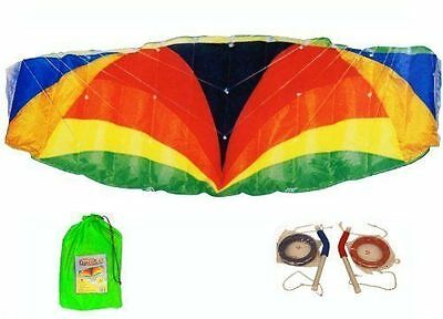 3m Span Beach Parafoil Power Stunt Sport Kite Quad 4 Line And Alloy Handles