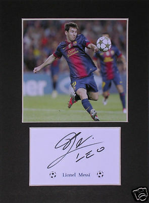 Lionel Messi Football signed mounted autograph 8x6 photo print display #B