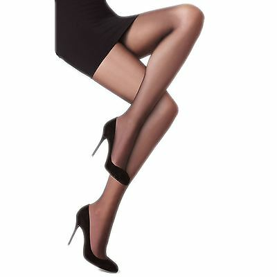6 Pairs Ladies Sheer Black Tights 15 Denier Soft Shine Pantyhose S-XL RRP £11