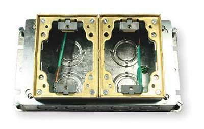 HUBBELL WIRING DEVICE-KELLEMS B2422 Floor Box,Steel and Brass,2-Gang