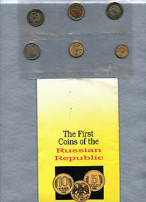 Russia ~ 1992 ~ 6 Coin Mint Set ~ With Folder