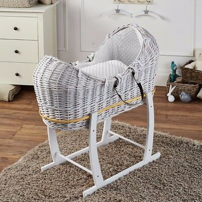 White Dimple White Wicker Moses Basket Pod And White Rocking Stand