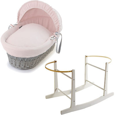 Grey Wicker Pink Waffle Moses Basket With White Rocking Stand