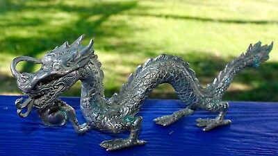 Dragon Naga with Pearl Statue Cast Bronze Sculpture Indonesian Art 11.75""