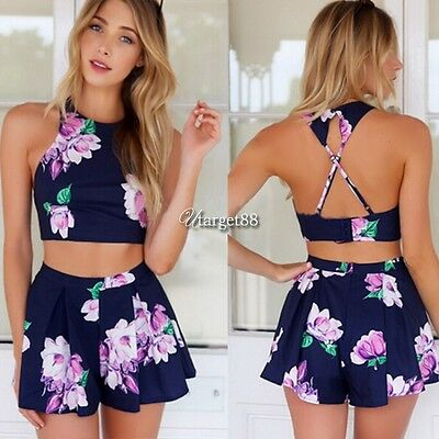 Women Backless Floral Clubwear Playsuit Bodycon Jumpsuit&Romper Trousers UTAR