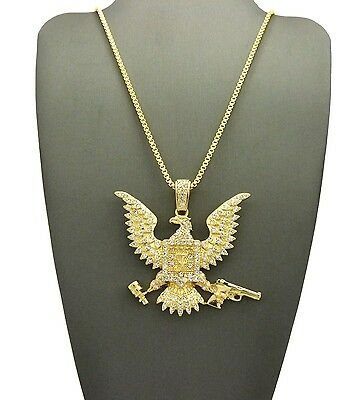 "Hip Hop Pave Eagle Holding Gun, Grenade Pendant 24"" Various Chain Necklace XTP81"