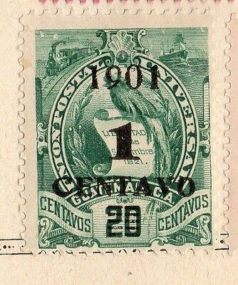 Guatemala 1901 Early Issue Fine Mint Hinged 1c. Surcharged 094928