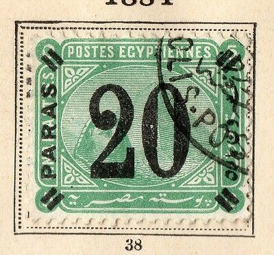 Egypt 1884 Early Issue Fine Used 20p. Surcharged 094988