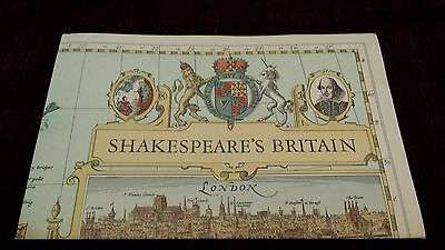 """Vintage 1964 Shakespeare's Britain National Geographic Society Map 19"""" x 25"""""""