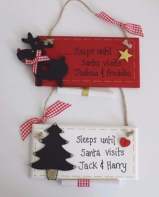 Personalised Days until Christmas Santa Countdown Plaque Sign Reindeer Baby