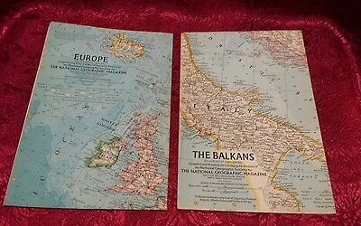 """Vintage 1962 The Balkins Europe National Geographic Society Map 19""""x25"""""""