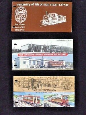 Seven (7) Isle Of Man Train Stamp Series Booklet/sets -  Pristine Mnh & Mounted