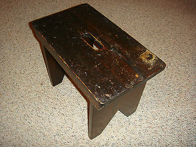 PA FOOT STOOL black stand wood milk bench step antique vintage rustic farmhouse