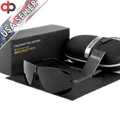 Aviator Polarized Rimless Sunglasses for Men Women w/ Case Outdoor Driving 8490