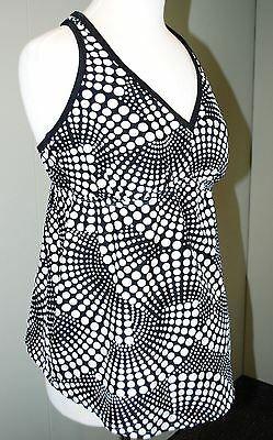 Liz Lange Maternity Tankini Swimsuit Top - Women's L Large - Black & White Print