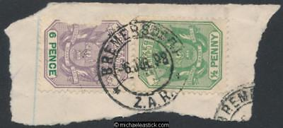 Swaziland 1 x SG Z30, ½d on piece, 6d damaged, Bremersdorp, 06-07-1898
