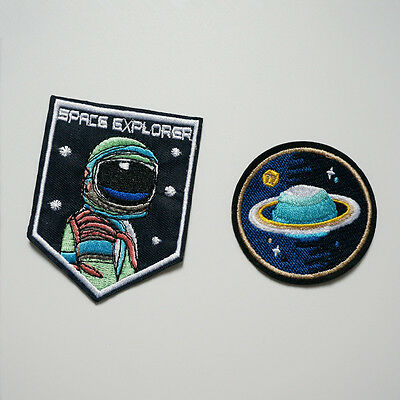 2 x Planet Star Space Explorer Sew Iron On Patches Badge Bag Hat Fabric Applique