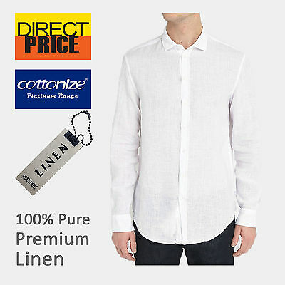 Mens 100% Pure Linen Shirts Luxury Casual White Comfy Soft Premium Fashion Long