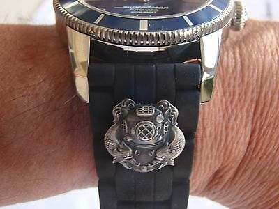 24Mm Deep Sea Diver 1St Cl. Hard Hat Diver's Watchband Watch Band Fits All Sizes