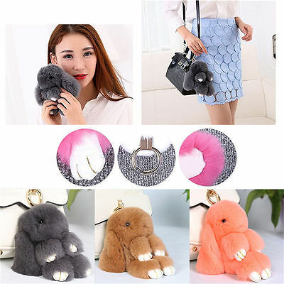 Rex Bunny Rabbit Fur Bag Handbag Keychains Pom Doll Ball Key Chain Ring Pendant