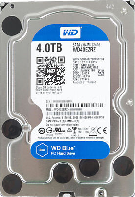"Western Digital WD BLUE 4TB 3.5"" SATA3 Internal Hard Drive HDD WD40EZRZ"