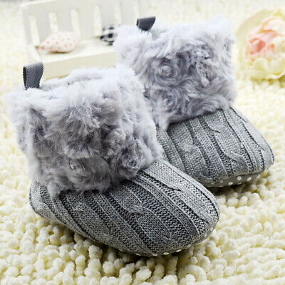 Newborn Baby Soft Sole Snow Booties Warm Toddler Boy Girl Boots Crib Shoes 0-18M