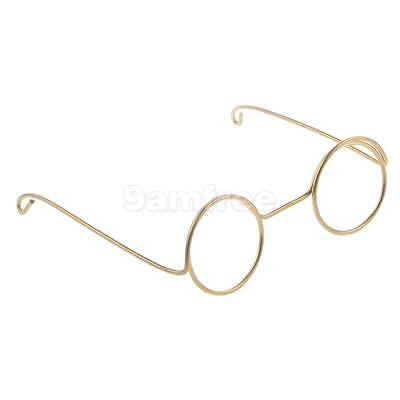 Pair Gold Round Frame Lensless Glasses for 1/6 Blythe Doll Costume Accessory