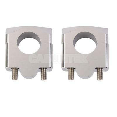 2x Recessed Handle Bar Riser Risers Mount Mounting Clamps Clamp Motorcycle Bike
