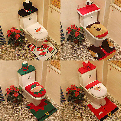 Hot Happy Xmas Toilet Covers Dinner Decor Christmas Decor Party Bathroom Tools