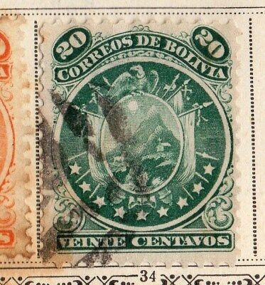 Bolivia 1891 Early Issue Fine Used 20c. 095240