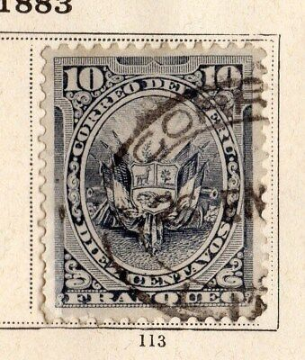 Peru 1883 Early Issue Fine Used 10c. 095361