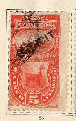 Peru 1874-75 Early Issue Fine Used 5c. 095365
