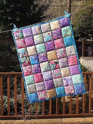 Handmade Patchwork Baby Quilt Boho Bohemian Cotton Fabrics Turquoise Purple Pink