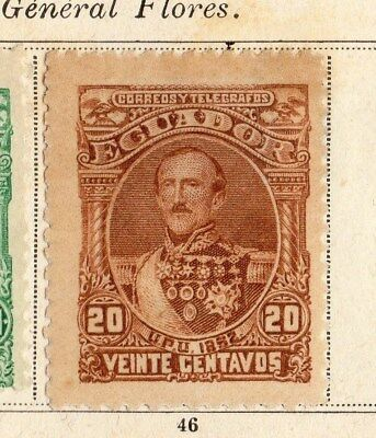 Ecuador 1892 Early Issue Fine Mint Hinged 20c. 095517