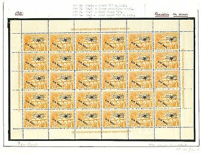 SG 137 New Guinea ½d orange. Complete pane of thirty (6x5). Hinged in margin...