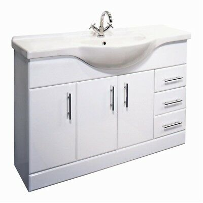 1050mm High Gloss White Bathroom Furniture Vanity Cabinet Unit & Cupboard Drawer