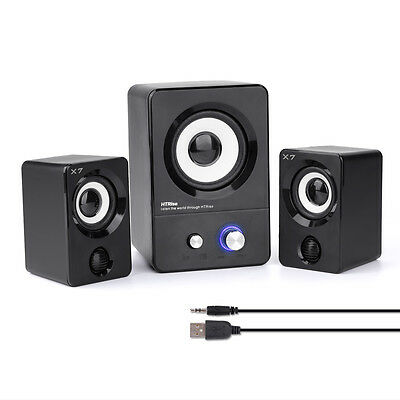 USB Powered Computer Speakers Active Multimedia Stereo Subwoofer for PC/Laptop