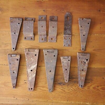 Lot of 11 Antique Primitive Rusty Iron Rusted Farmhouse Barn Door Hinges Parts