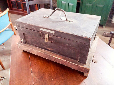 Old Vintage Tool box with built-in base All wood 17'' x 11'' WM R JASCH