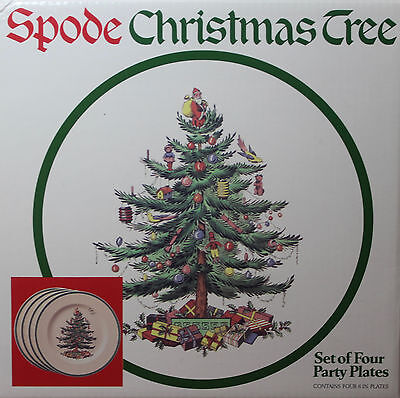 4 Spode CHRISTMAS Tree PARTY PLATES  *NEW in BOX* MADE in ENGLAND, 3 boxes avail