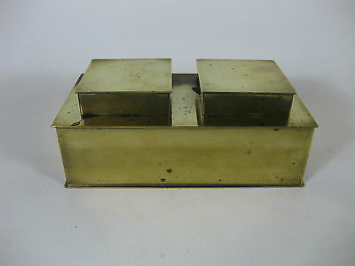 Vintage Brass Inkwell Double well w/ Glass Wells